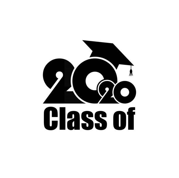 stockillustraties, clipart, cartoons en iconen met klasse van 2020 met graduation cap. vlak eenvoudig ontwerp op witte achtergrond - flat cap