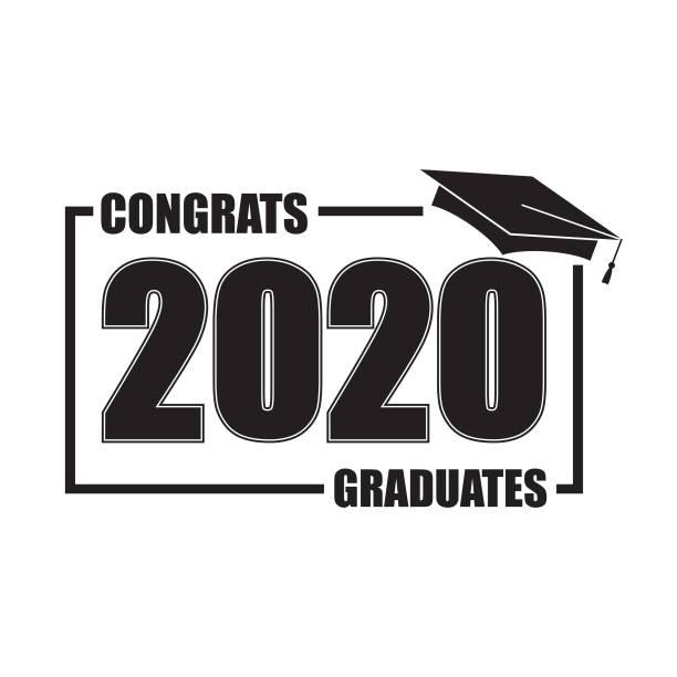 stockillustraties, clipart, cartoons en iconen met klasse van 2020 met graduation cap. vlak eenvoudig ontwerp op witte achtergrond. - flat cap