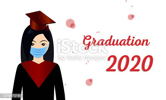 Class of 2020 year congratulation graduate. Vector illustration with students in medical mask and graduation text in academic cap