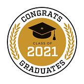 istock Class of 2021, Congrats Graduates label. 1309949844