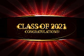 Class of 2021 Congratulations Graduates gold text with golden ribbons on dark background. Vector illustration