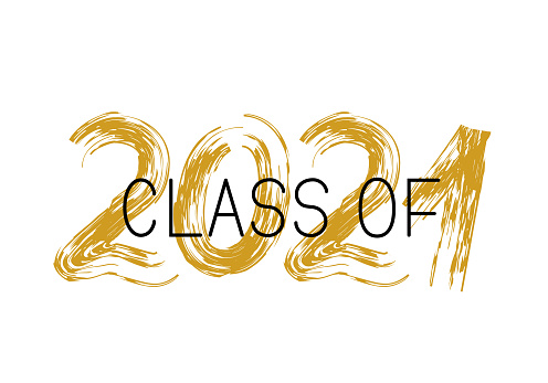 Class of 2021 lettering with dry brush stroke isolated on white. Congratulations to graduates typography poster. Easy to edit vector template for greeting card, banner, label, t-shirt, etc