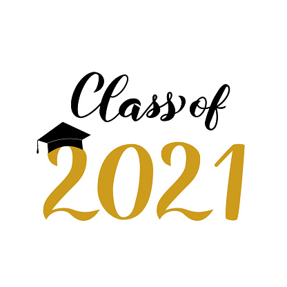 Class of 2021 lettering with graduation cap isolated on white. Congratulations to graduates typography poster.  Vector template for greeting card, label, banner, sticker, t-shirt, etc.