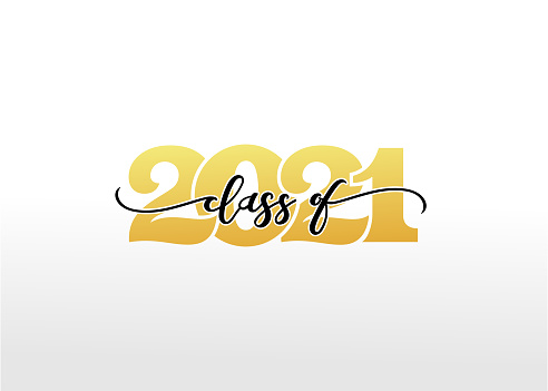Class of 2021 with graduation cap. Congrats Graduation calligraphy lettering, You did it. Template for design party high school or college, graduation invitations. Minimalist vector illustration.
