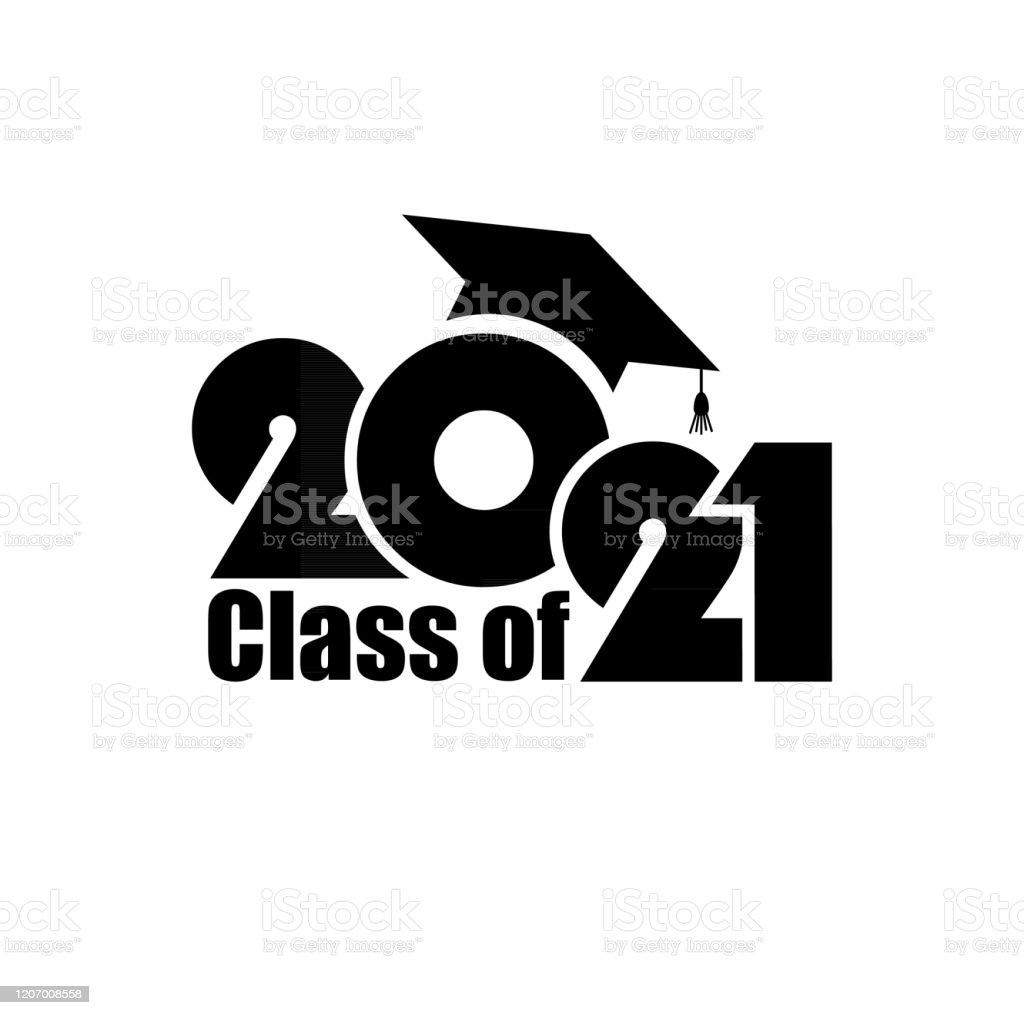 Klasse van 2021 met Graduation Cap. Vlak eenvoudig ontwerp op witte achtergrond - Royalty-free 2021 vectorkunst