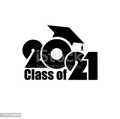 istock Class of 2021 with Graduation Cap. Flat simple design on white background 1207008558
