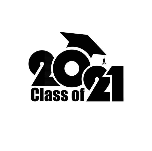bildbanksillustrationer, clip art samt tecknat material och ikoner med klass av 2021 med examen cap. platt enkel design på vit bakgrund - klassrum