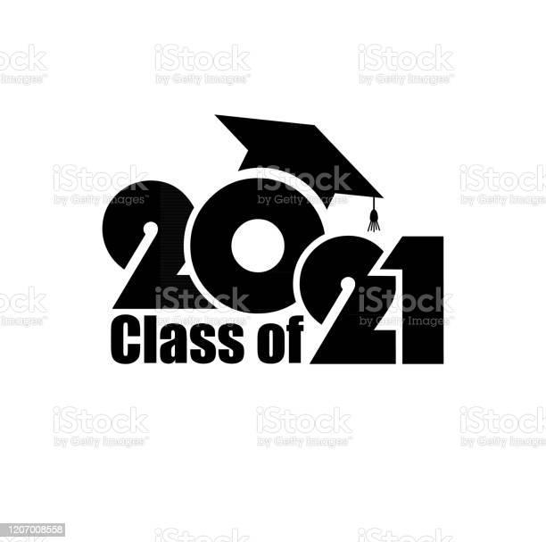 Klasse Van 2021 Met Graduation Cap Vlak Eenvoudig Ontwerp Op Witte Achtergrond Stockvectorkunst en meer beelden van 2021