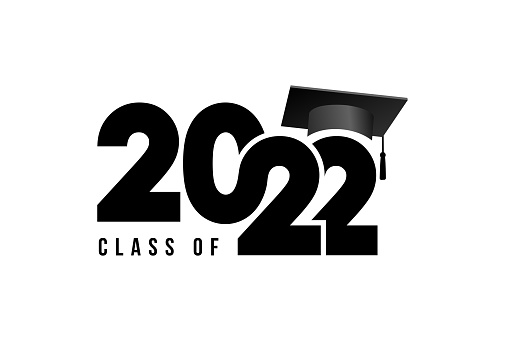 Class of 2022 to congratulate young graduates on graduation. Class 2022. Vector simple black concept. Trendy background for branding, calendar, card, banner, cover.