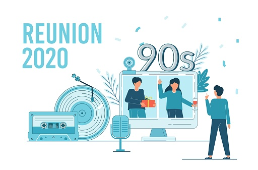 Class Reunion 2020. Online party for students alumni meeting.