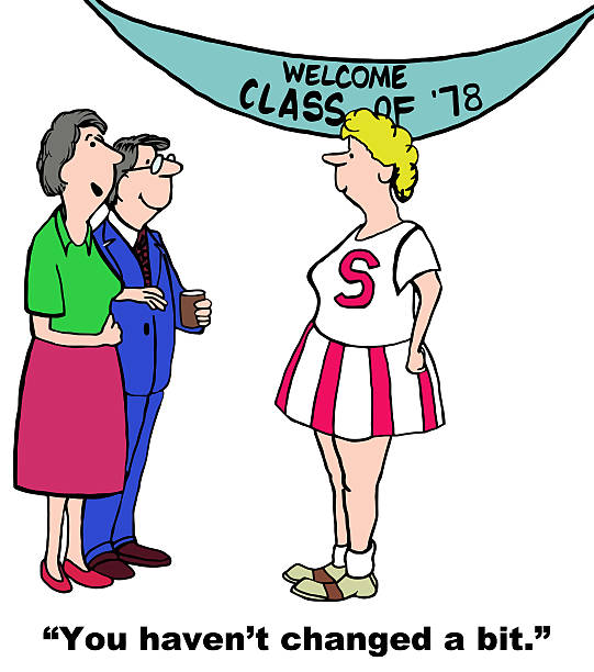class reunion and woman has not changed - reunion stock illustrations, clip art, cartoons, & icons