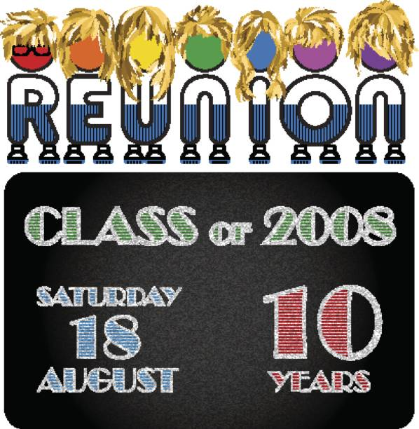 class reunion logo isolated rainbow color on white background, a vector illustration. - reunion stock illustrations, clip art, cartoons, & icons