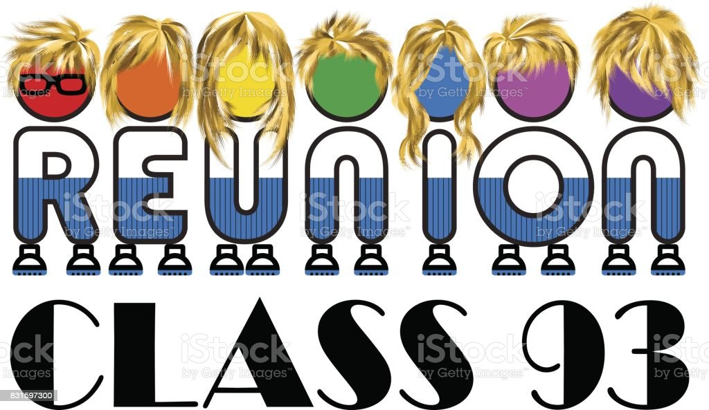 Class reunion logo isolated rainbow color on white background, a vector illustration. vector art illustration
