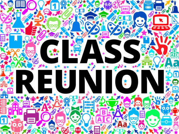 class reunion school and education vector icon background - reunion stock illustrations, clip art, cartoons, & icons