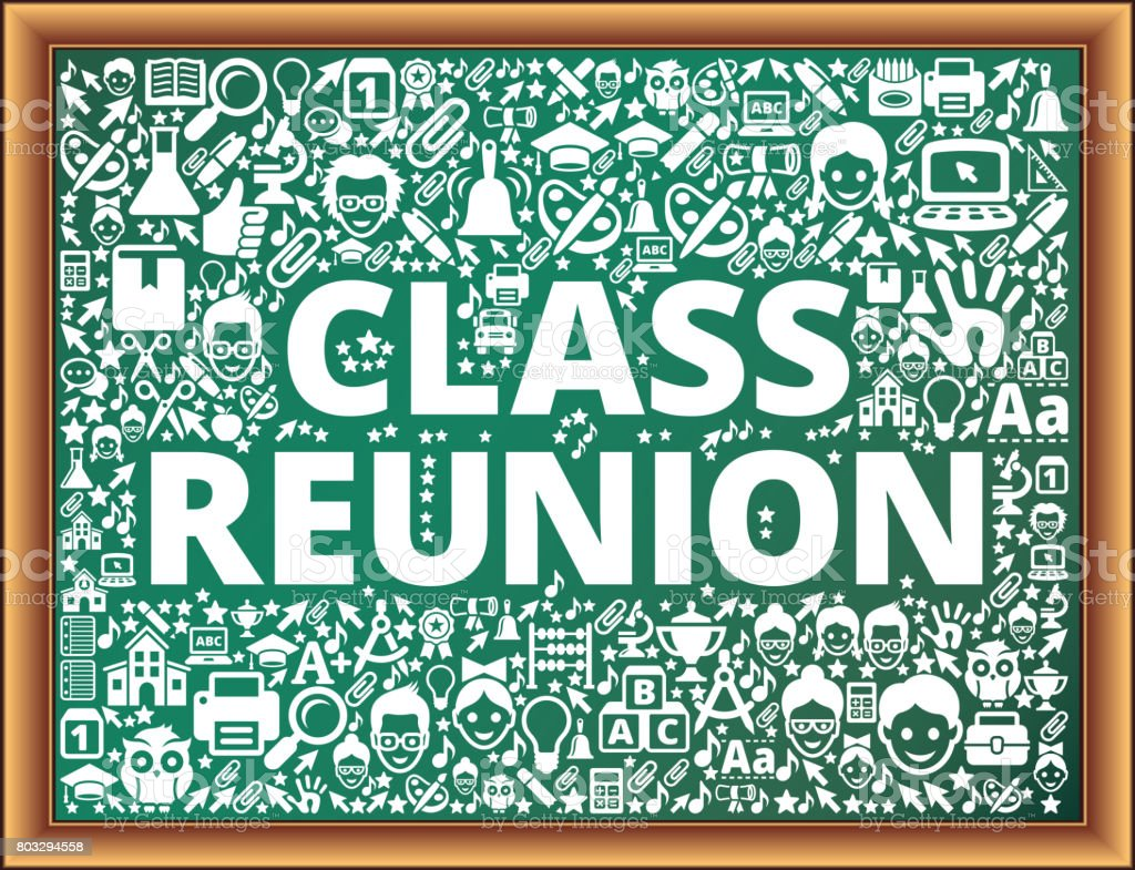 Class Reunion School and Education Vector Icons on Chalkboard vector art illustration