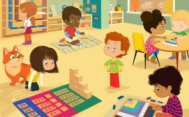 bildbanksillustrationer, clip art samt tecknat material och ikoner med montessori klass med gyllene material. mångkulturella pojkar och flickor lära maths genom spela decanomial square, bead skåp, dynamisk subtraktion, flicka sitta med och göra multiplikation med pärlorna. - klassrum
