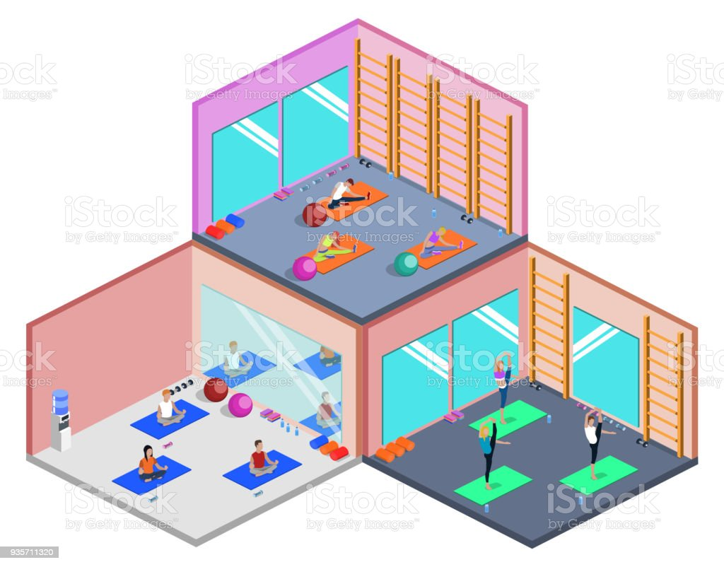 Class yoga and pilates, people are doing sports isometric 3D vector illustration