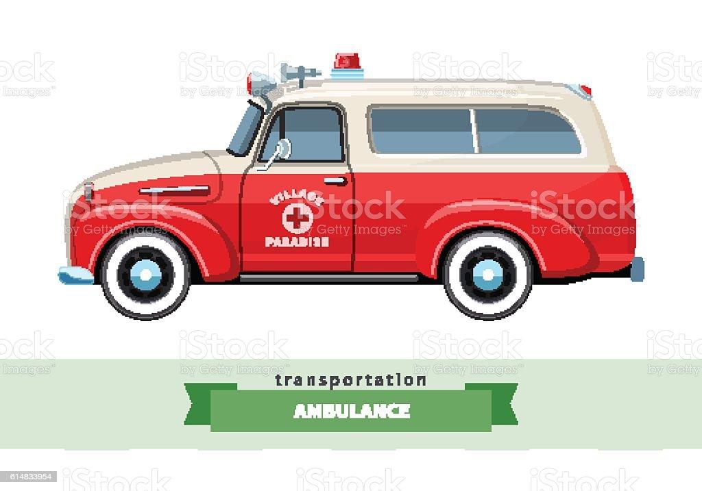 Classic ambulance wagon truck side view