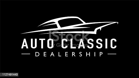 Classic American concept style sports muscle car dealership icon. Retro style V8 auto garage vehicle silhouette. Vector illustration