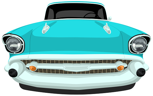 1957 Classic American Car - Front View