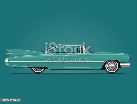 Classic American Car Side View Vector Illustration