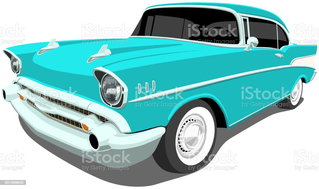 1957 Classic American Car vector art illustration