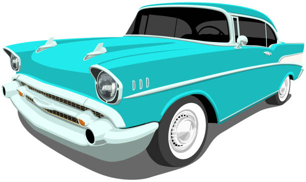 1957 classic american car - 1950s style stock illustrations, clip art, cartoons, & icons