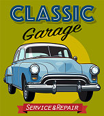 Classic American car illustration in sketchy style with Classic Garage logo.