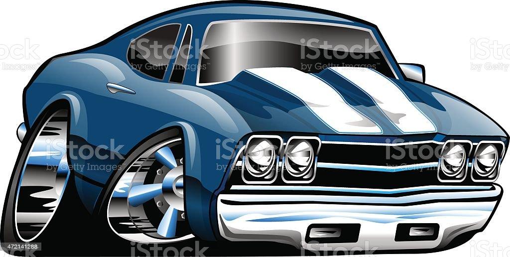 Classic American Muscle Car Cartoon Illustration Stock Vector Art