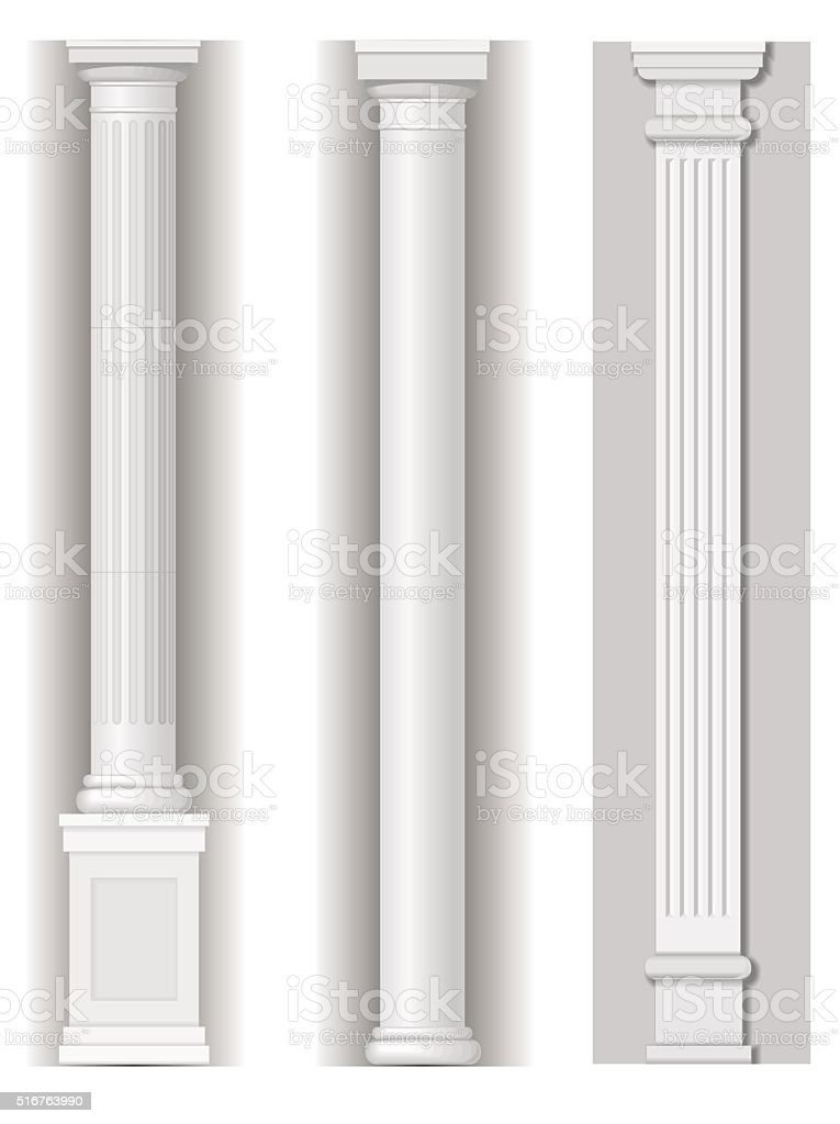 Classic antique white columns vector art illustration
