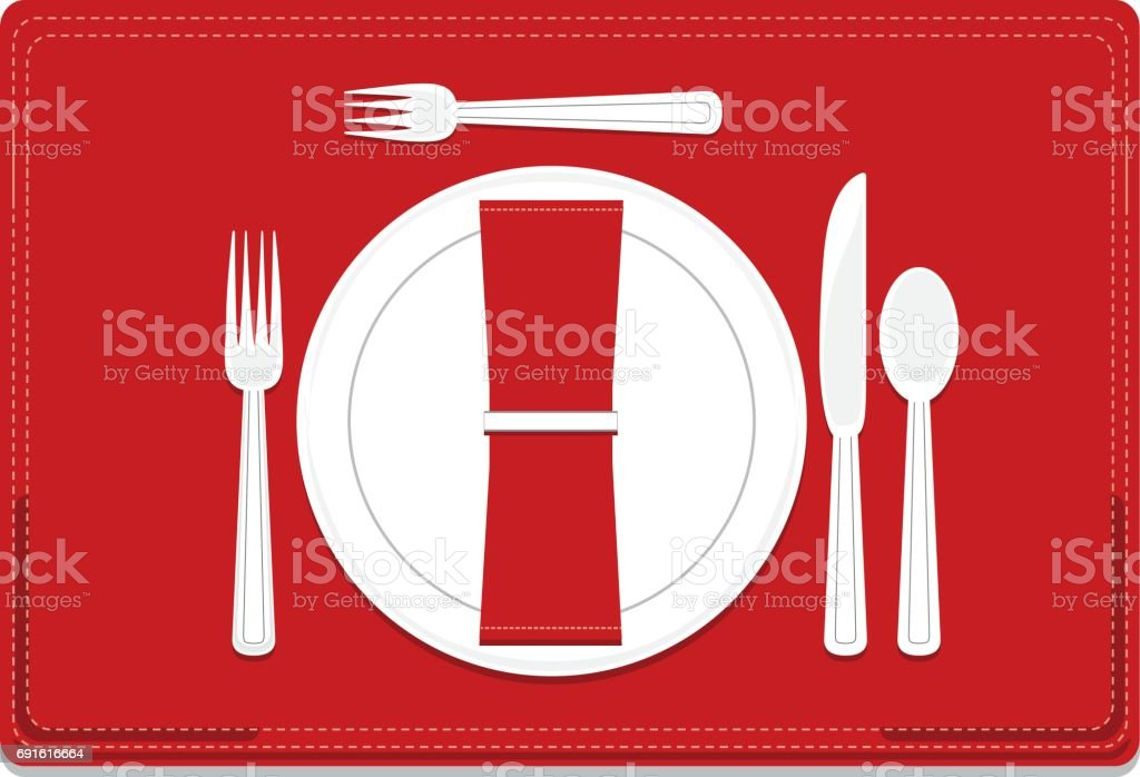 Classic, Basic 4-Piece Dinnerware Place Setting Set vector art illustration