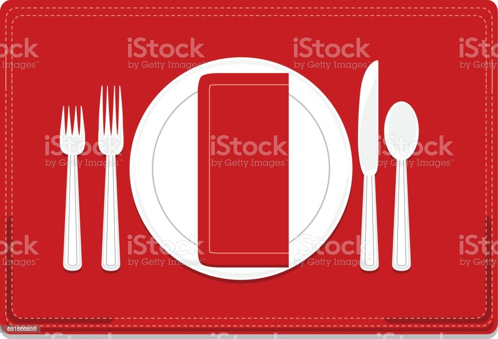 Classic, Basic 4-Piece Dinnerware Place Setting Set with Red Placemat, Napkin vector art illustration