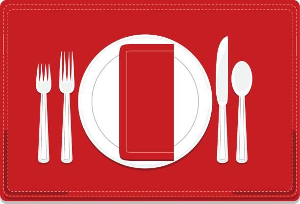 赤いランチョン マット、ナプキンと古典的な基本的な 4 作品食器場所設定 - ランチョンマット点のイラスト素材/クリップアート素材/マンガ素材/アイコン素材