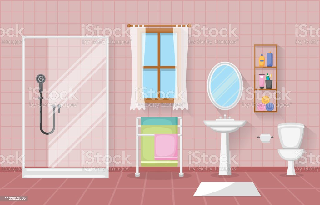 Classic Bathroom Interior Clean Room Wooden Accent Furniture Flat Design Stock Illustration Download Image Now Istock