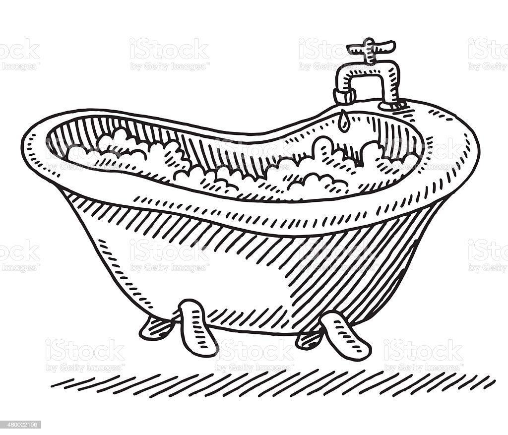 Classic Bathtub Bubbles Water Drawing vector art illustration