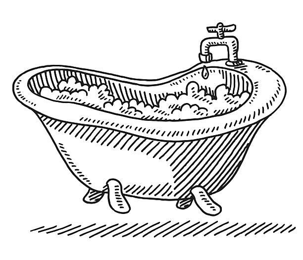 Classic Bathtub Bubbles Water Drawing vector art illustration