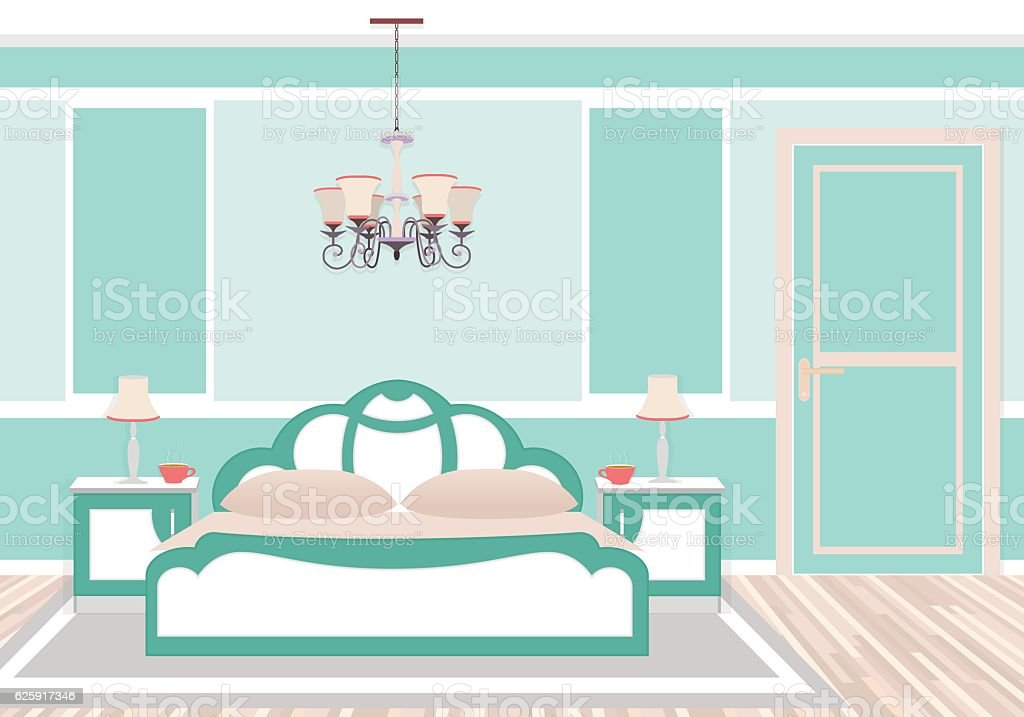 Classic bedroom interior in cold colors. vector art illustration