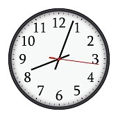 Classic black and white round wall clock isolated on white background. Vector illustration.