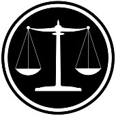 classic black and white scales of justice icon legal system concept