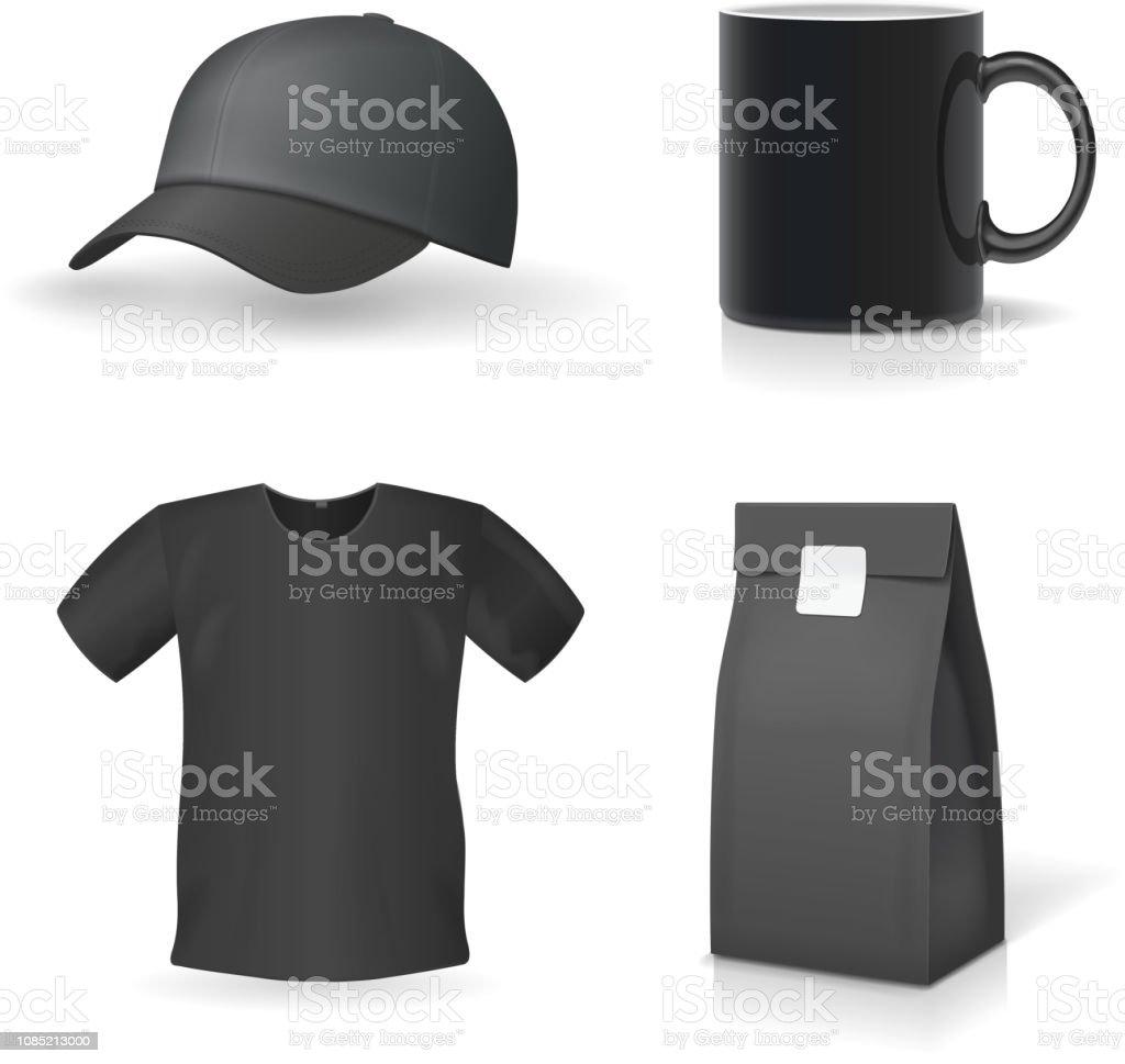 Classic black promotional souvenirs design set Mug, t-shirt, cap. vector art illustration