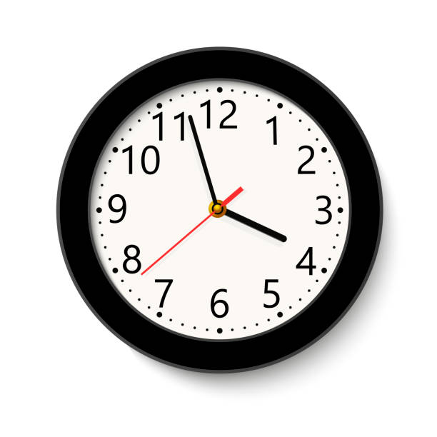 Classic black round wall clock isolated on white . Vector illustration. Classic black round wall clock isolated on white . Vector illustration. wall clock stock illustrations