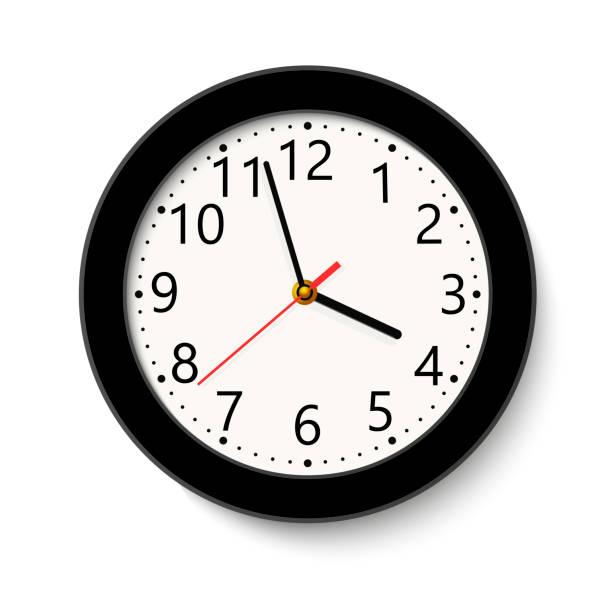 ilustraciones, imágenes clip art, dibujos animados e iconos de stock de clásico negro redondo reloj de pared aislado en blanco. ilustración de vector. - wall clock