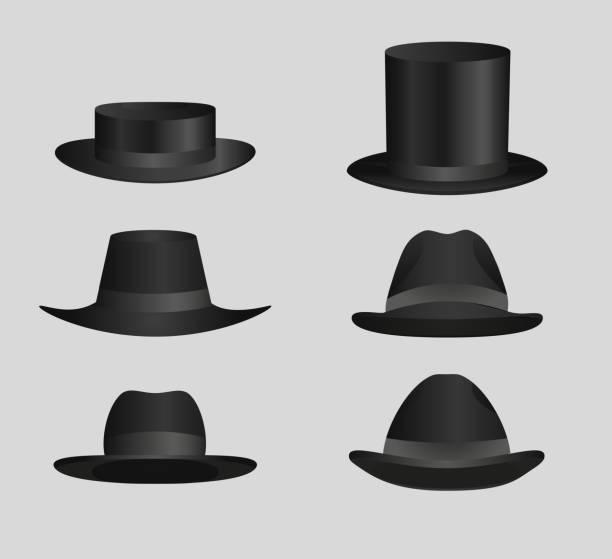 Klassische Black top Hut Derby Hüte und Kappen – Vektorgrafik
