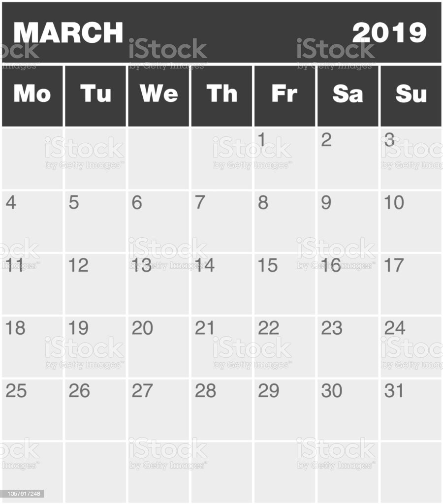 Classic Blank Month Greyscale Planning Calendar March 2019