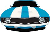 Vector Illustration of a 1969 muscle car, saved in layers for easy editing if needed.