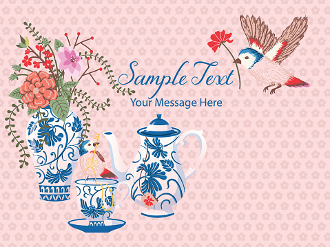 Classic Blue Ceramic Pottery Vector Card Background