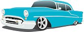 Classic blue Chevy animation on a white backdrop