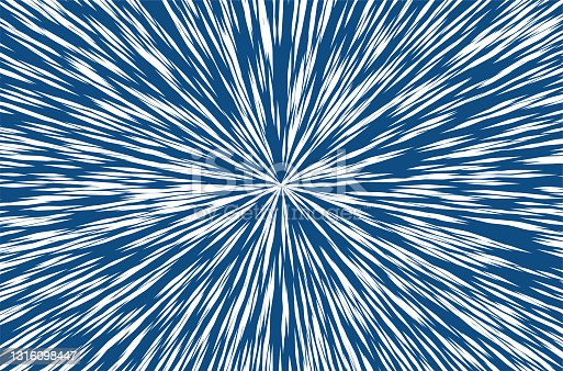 istock Classic Blue Trendy Color Sun Rays or Explosion Boom for Comic Books Radial Background. Vector. 1316098447