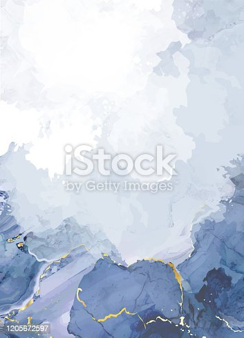 istock Classic blue watercolor fluid painting vector design card 1205672597