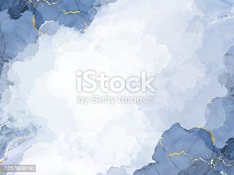 istock Classic blue watercolor fluid painting vector design card. 1257609740